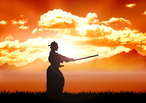 A silhouette photo of a person during Kendo training