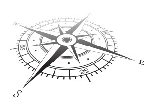 An image of a compass showing South